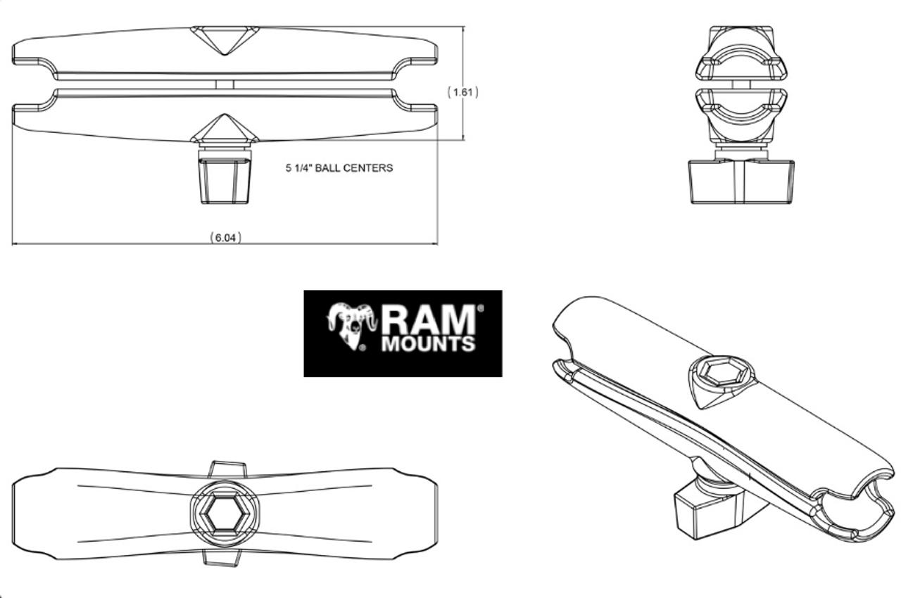 "RAM 6/"" Long Double Socket Arm for 1/"" Ball"