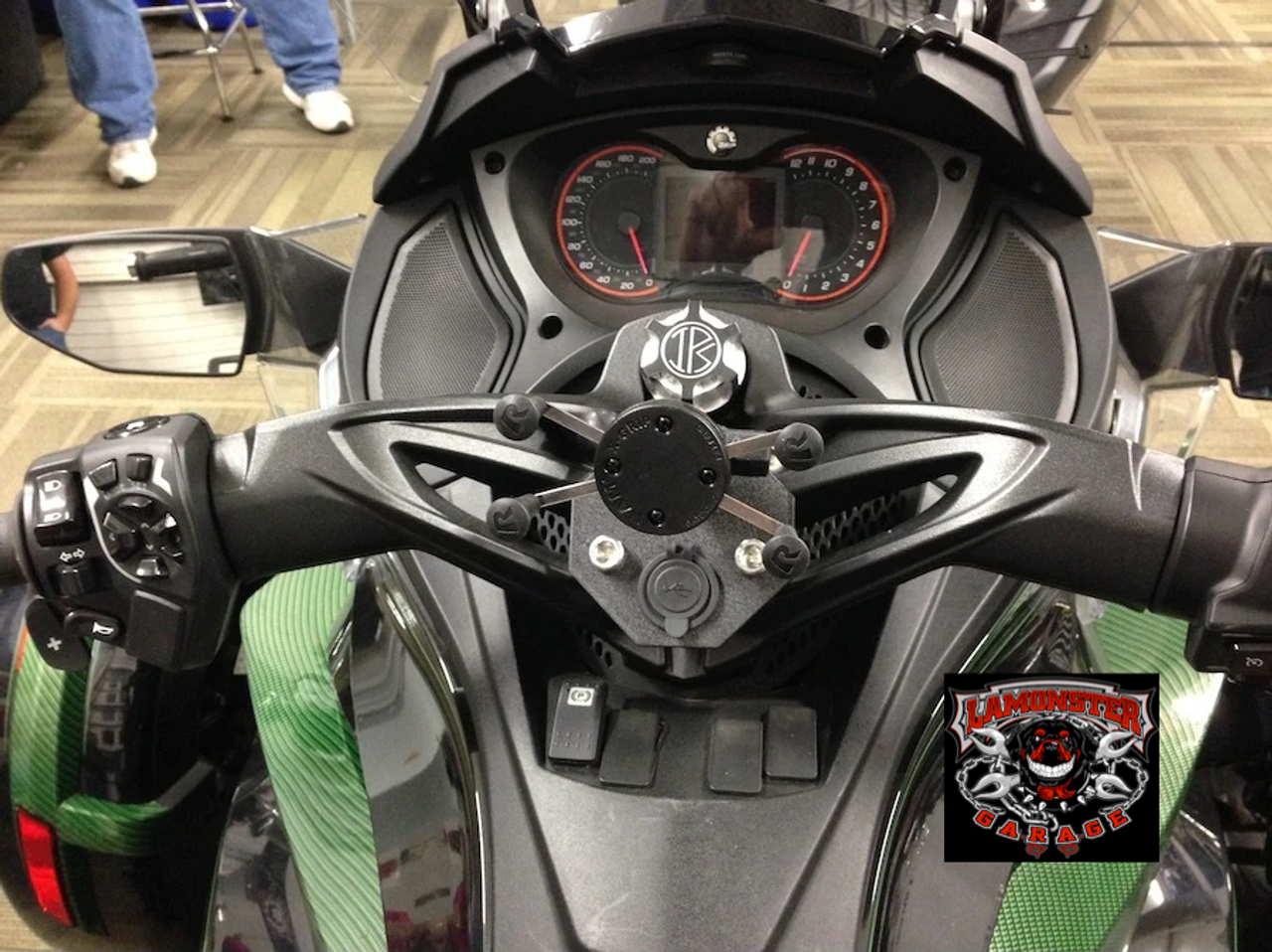 Can-Am Spyder, SpyderDock (with 12v CIG/USB ) (LG-1084) by Lamonster  Shown on ST. X-Grip not included.