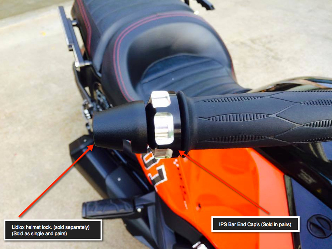 Can Am Spyder IPS Bar End Caps (LG-1015) by Lamonster Also Shown with Lidlox Helmet Locks (NOT INCLUDED)