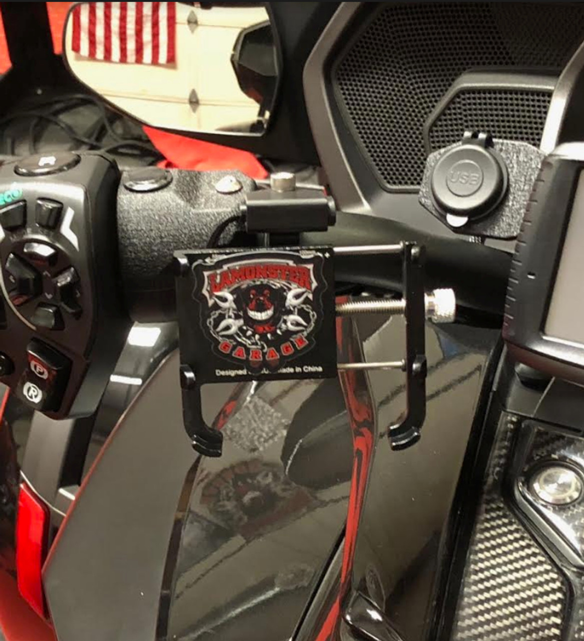 """Phone Holder / USB Combo (LG-4015-3091-3092) by Lamonster FITS ALL F3 Models, F3, F3-S, F3-T, F3-LTD  Also Fits any  Motorcycle Handle Bars that are 7/8"""", 1"""", 1 1/8"""" (Shown on a F3-T)"""