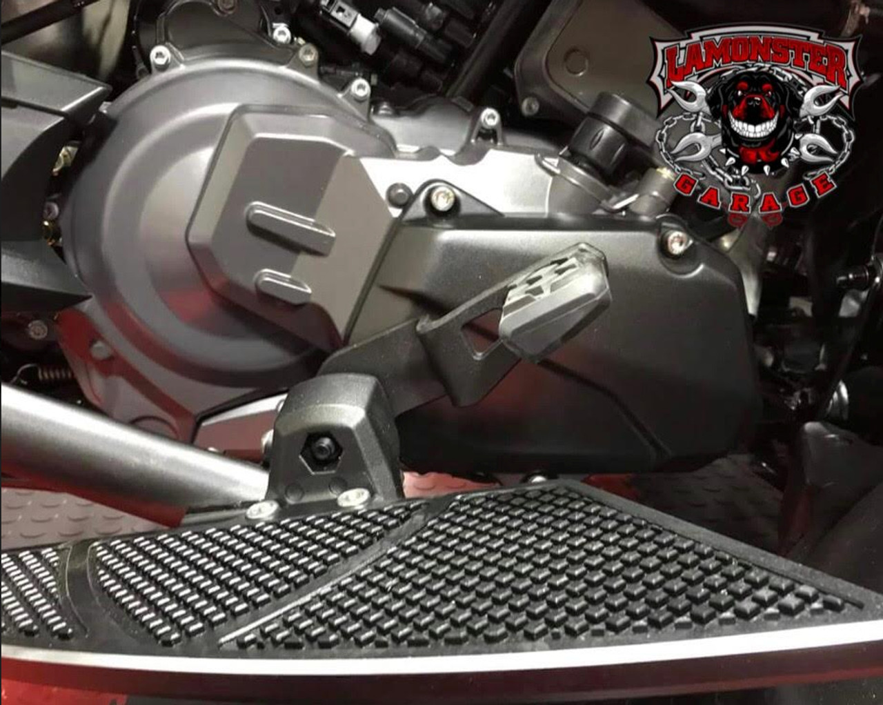 Can-Am Spyder F3 Stock Brake Pedal with Lamonster Brake Rod Position.  (Shown with Lamonster Black Dymond Floorboards)