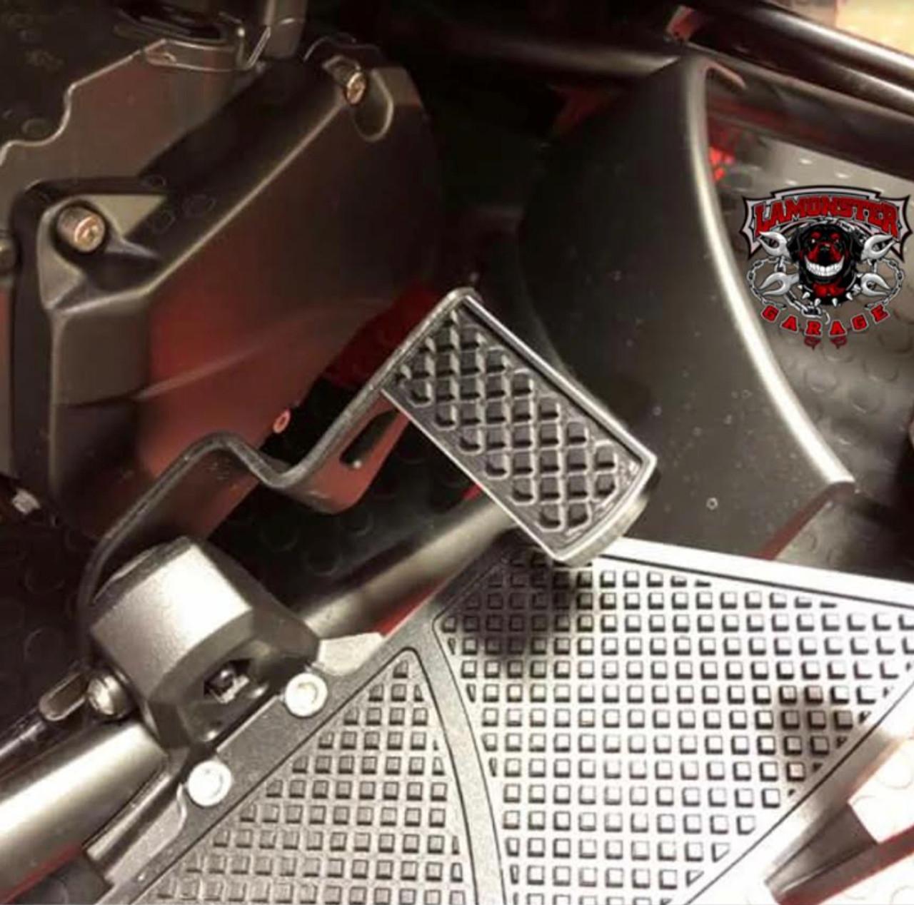 Lamonster Black Dymond Brake Pedal (LG-1009) (Accent Cut) Fits all Can-Am Spyder F3, RT, ST Models  (Shown with Lamonster Black Dymond Floorboards)