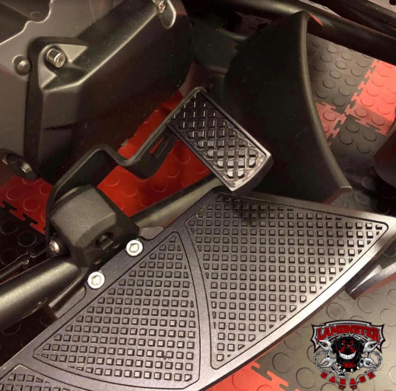 Lamonster Black Dymond Brake Pedal (LG-1009B) (BLACK) Fits all Can-Am Spyder F3, RT, ST Models  (Shown with Lamonster Black Dymond Floorboards)