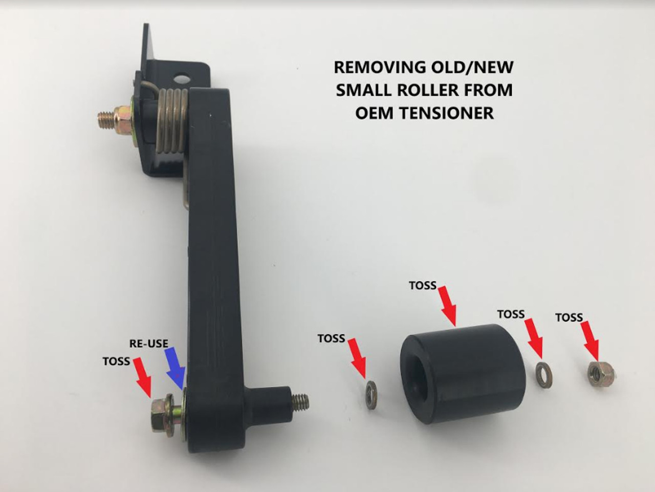 Removing Old/New Small Roller From OEM Tensioner