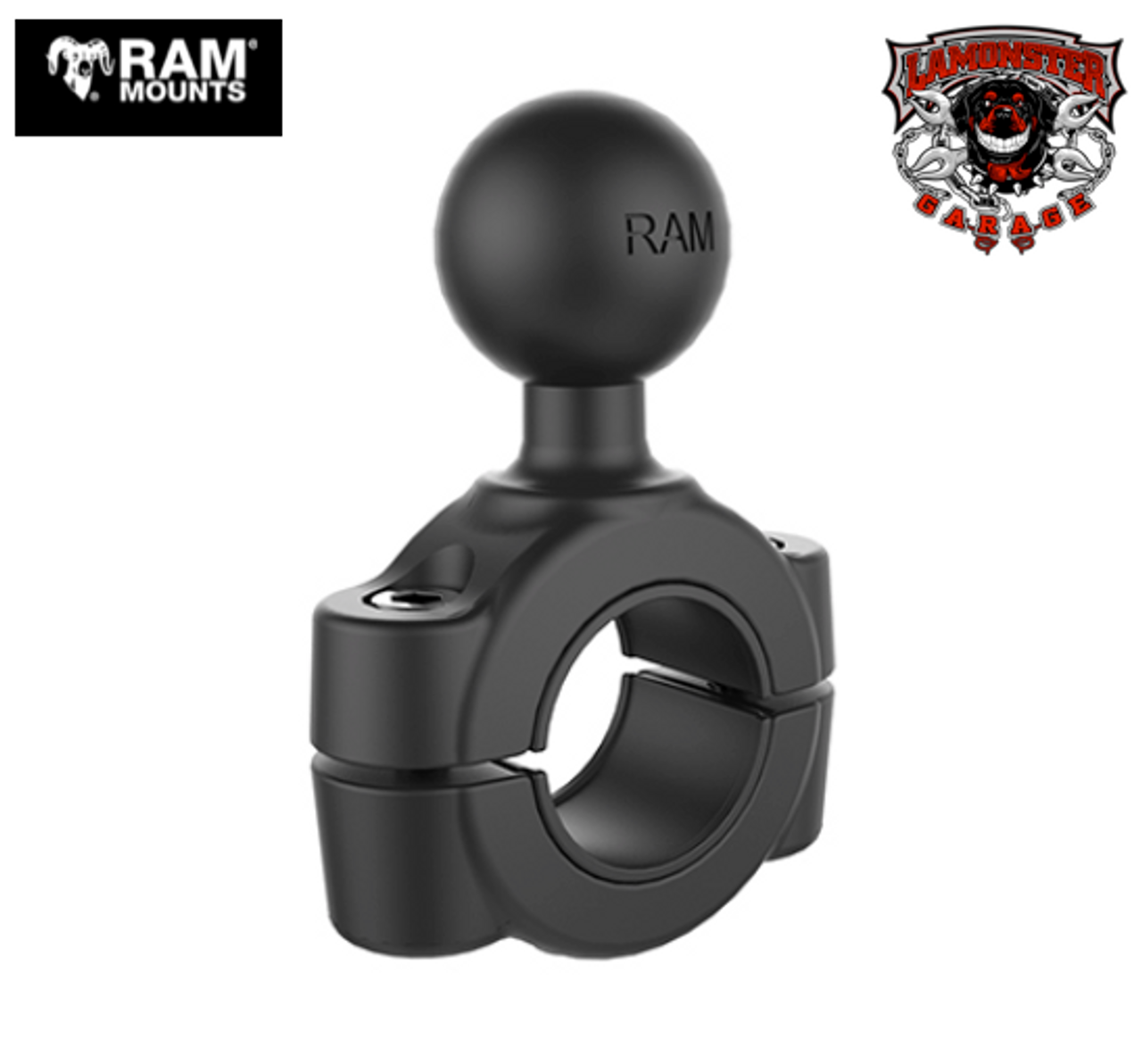 "RAM® 3/4"" - 1"" Diameter Handlebar/Rail Base with 1"" Ball (RAM-751U) Fits Can Am Ryker Handlebars Accommodates Handlebars 0.75"" to 1"" in diameter"