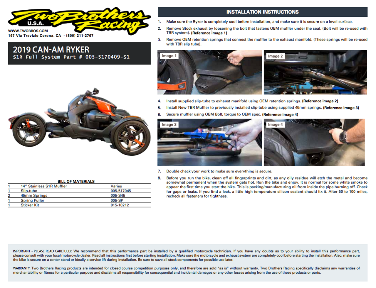 Can-Am Ryker (2019-2020) S1R Slip-On System and K&N Air Filter Combo (TB-005-5170409-S1)