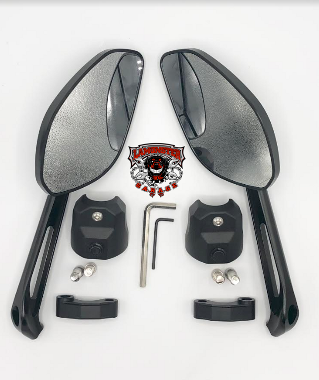 Big Eye Mirrors & Top Cap Combo (LG-1027-5525) by Lamonster For the Can Am Spyder F3 Models.
