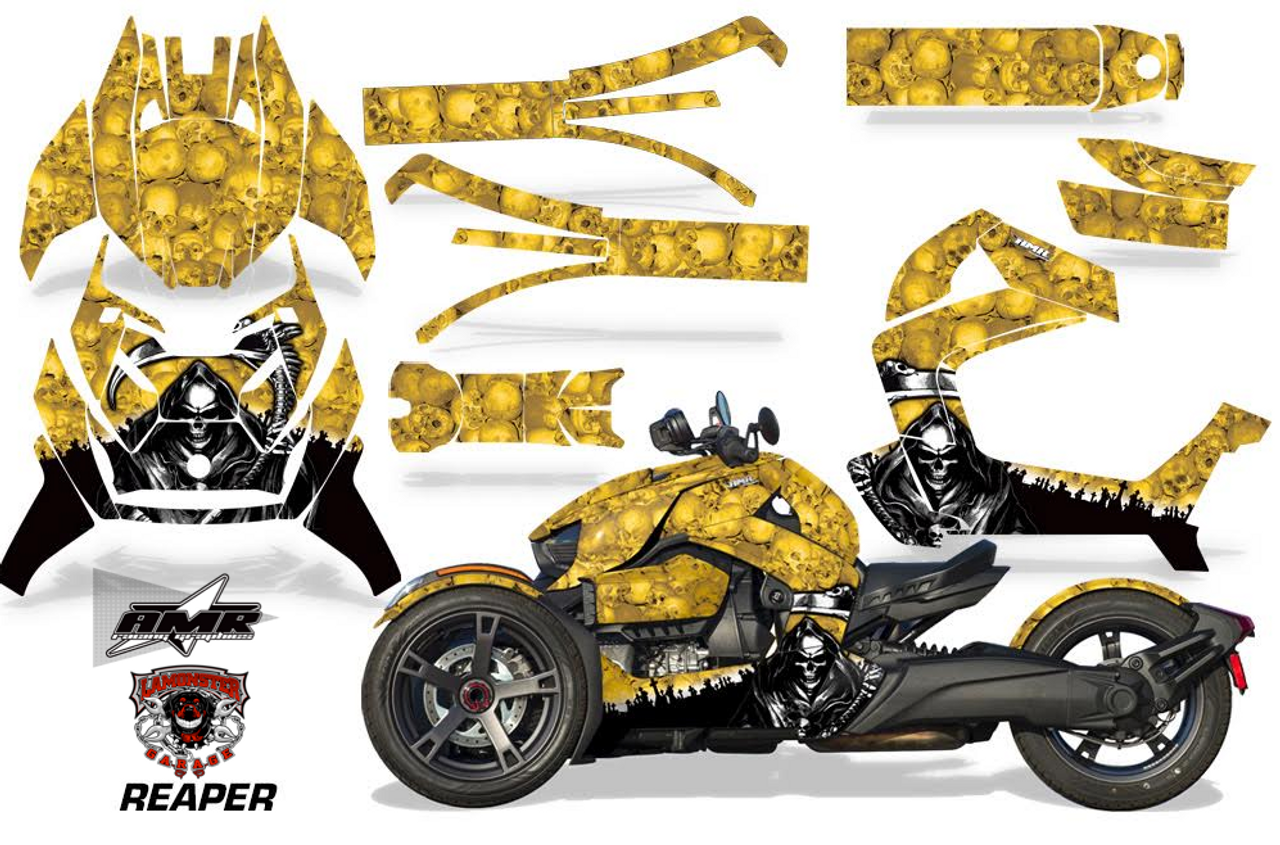 Full Body Wrap Graphic Sticker Decal for Can-Am Ryker 2019 - Present / Yellow Reaper (AMR-1013)