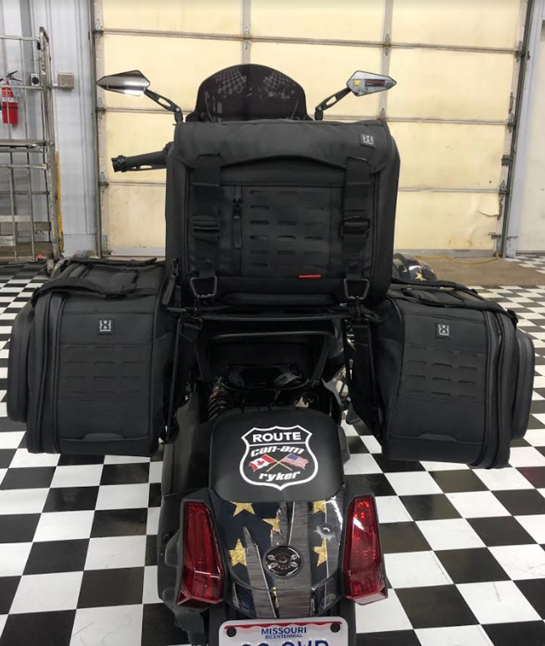 IPS Rack and Saddlebag Standoffs for the Can Am Ryker (LG-1062-1061) by Lamonster (Kuryakyn Bags SOLD SEPARATELY) Shown with KYN-5295 and KYN-5293