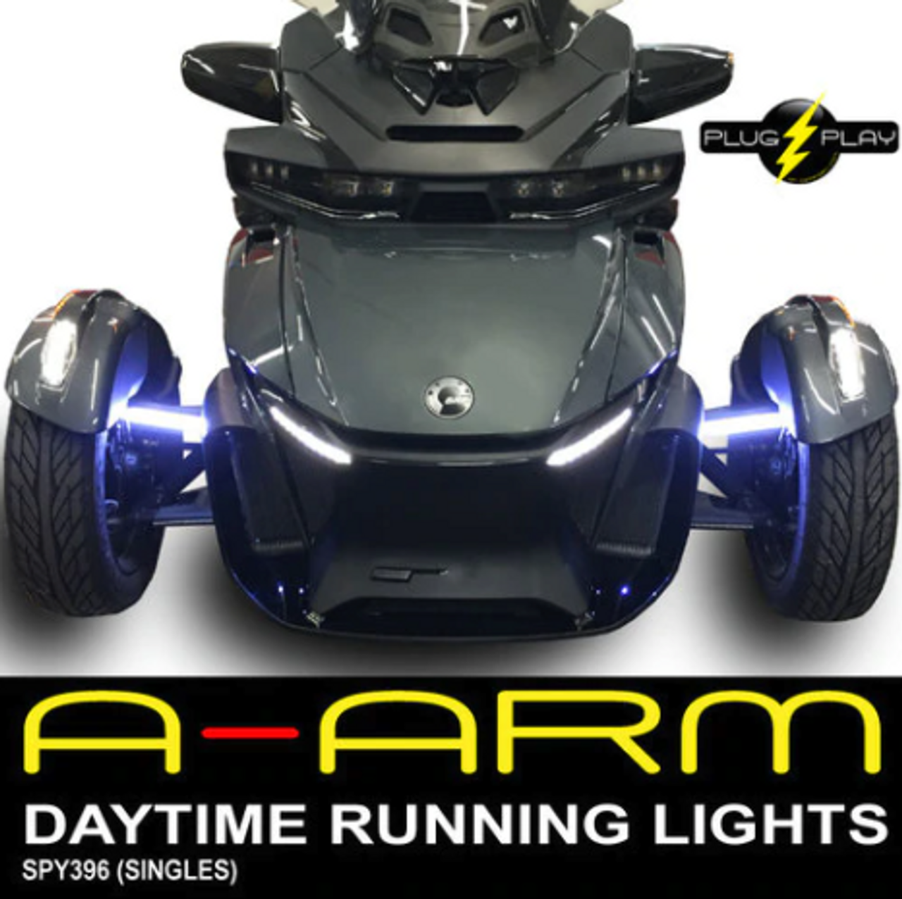 2020 - UP CAN AM SPYDER RT DAYTIME RUNNING LED LIGHTS (1-PAIR) FOR THE FRONT A-ARMS (SPY-396)