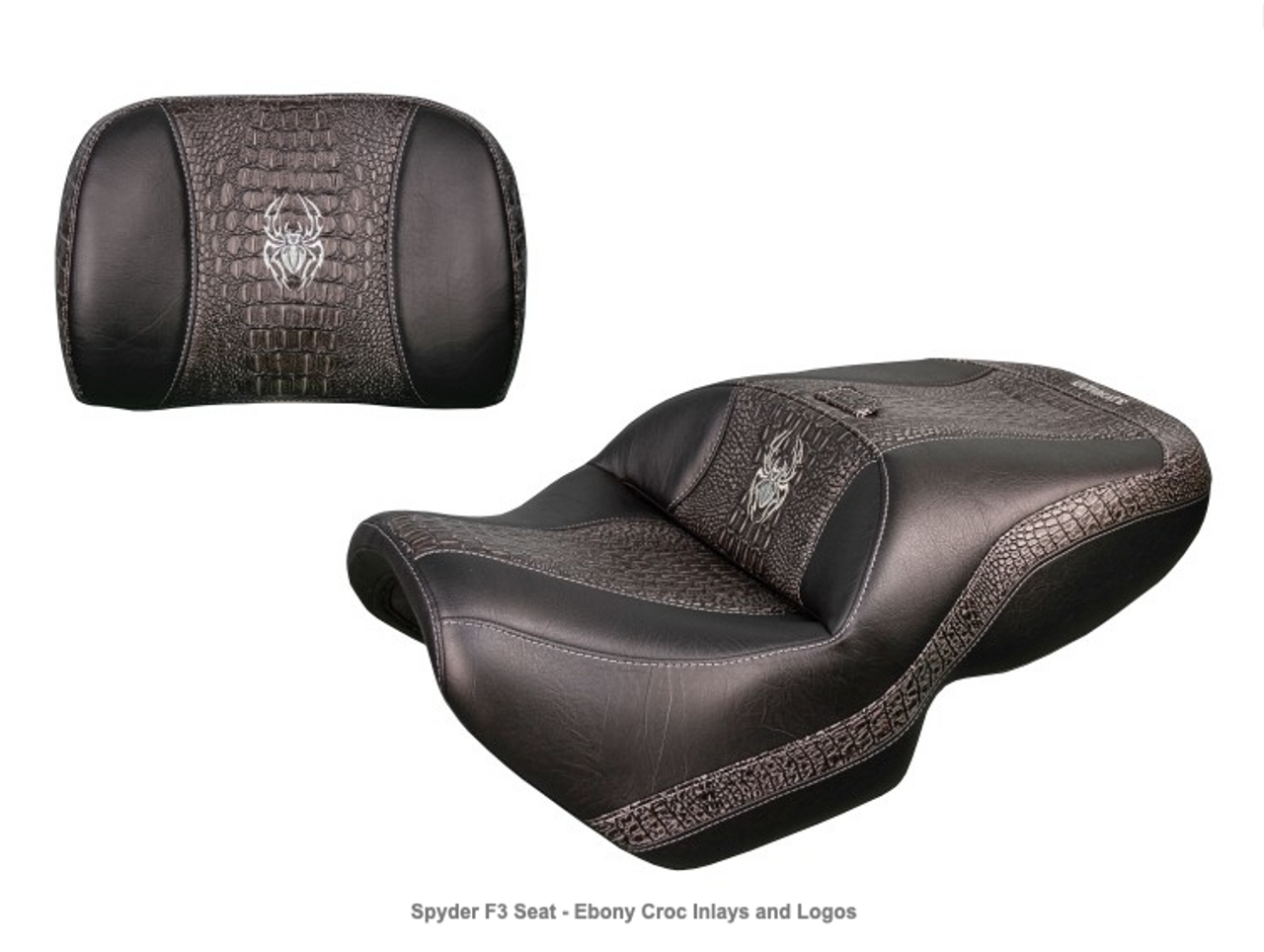 Ultimate Seat, Can Am Spyder F3 (2015 - Present) Spyder F3 Seat - Ebony Croc Inlays and Logos