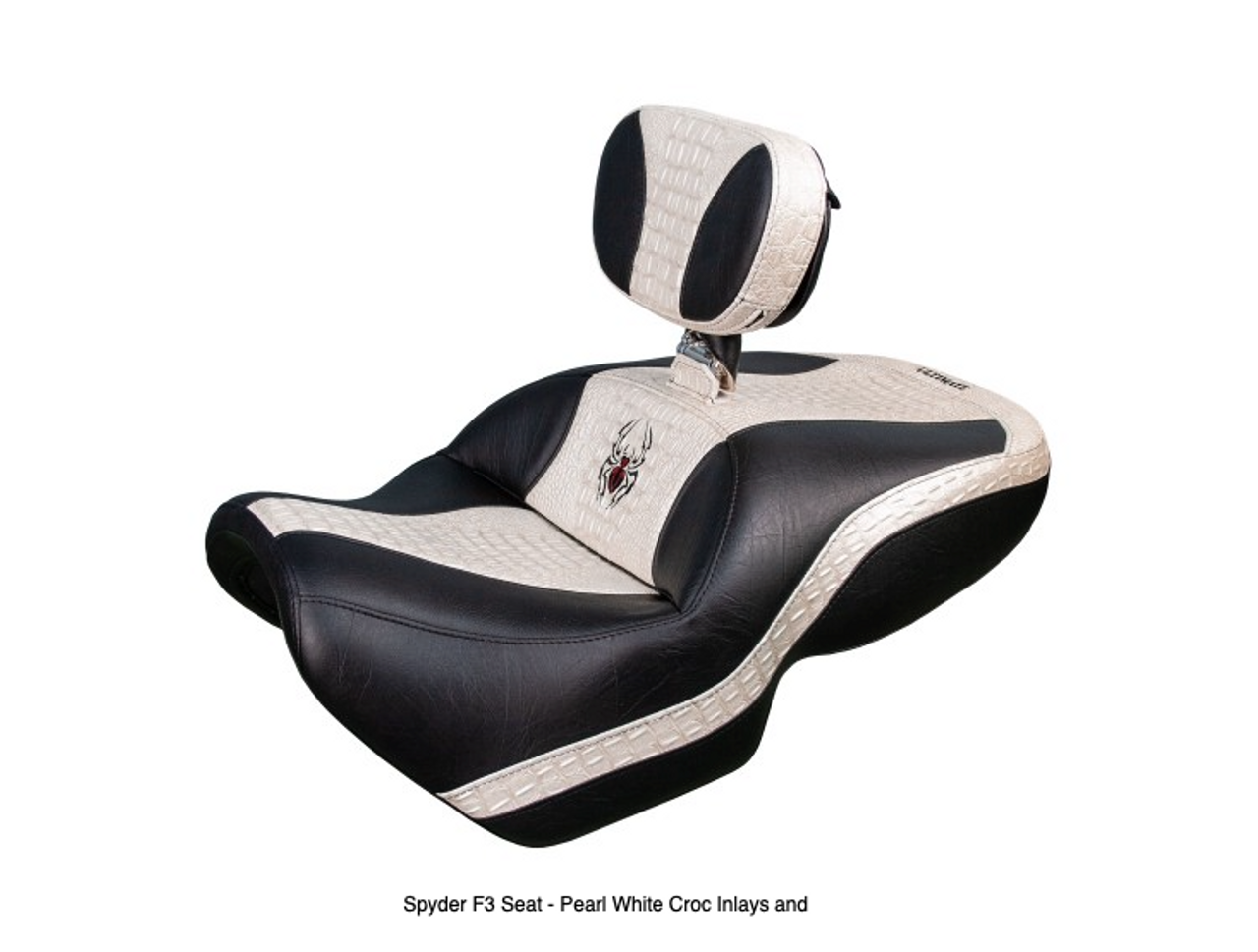 Ultimate Seat, Can Am Spyder F3 (2015 - Present) Spyder F3 Seat - Pearl White Croc Inlays and Logos