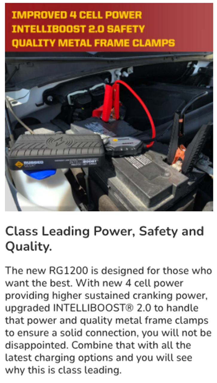 RG1200 Safety Portable Jump Starter & Power Supply w/ Wireless Charging (RG-1200) Class Leading Power, Safety and Quality.
