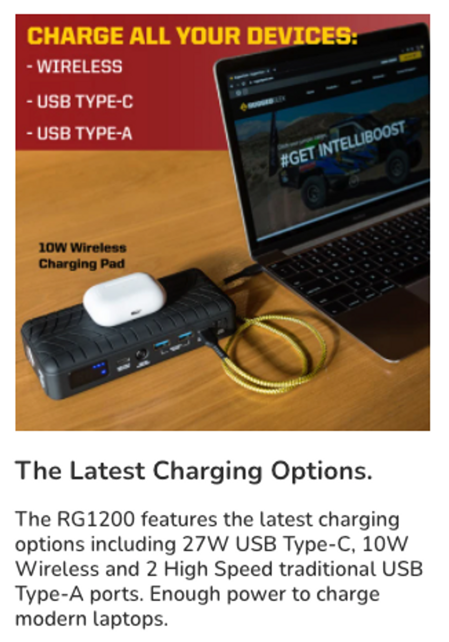 RG1200 Safety Portable Jump Starter & Power Supply w/ Wireless Charging (RG-1200) The Latest Charging Options. The RG1200 features the latest charging options including 27W USB Type-C, 10W Wireless and 2 High Speed traditional USB Type-A ports. Enough power to charge modern laptops.