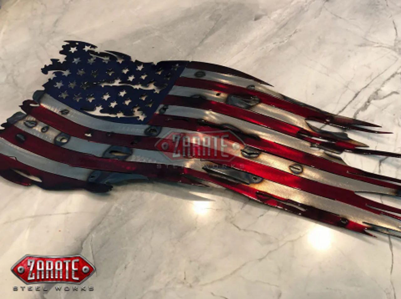 American Tattered Flag (LGA-9020) - Zarate Steel Works (Each steel piece detail effects may vary as they are handcrafted individually.)