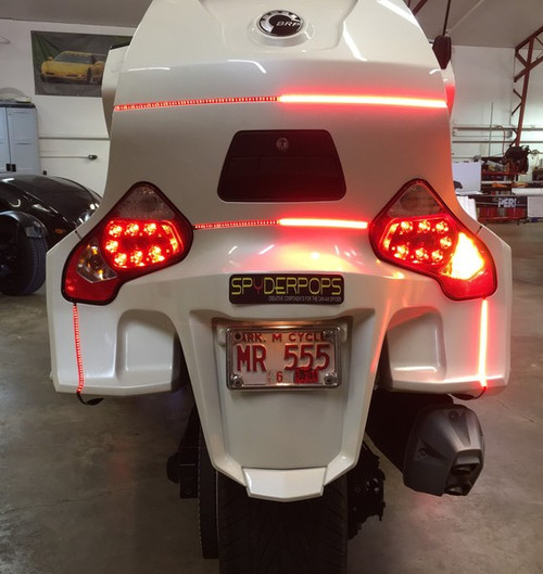 Can-Am Spyder RT BRT Rear Lighting Kit, 4 Sections, BRAKE/RUN/TURN with BRAKE STROBE Function(FITS ALL RT MODELS) Plug -N- Play. (SPY-184) Lamonster Approved