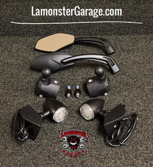F3 Mirror relocators complete kit with RAM balls-SM6 only (Bright LED Blinkers) (LG-1028-0311-1039-2510) by Lamonster (FITS THE F3 & F3-S SM6 MODELS ONLY)