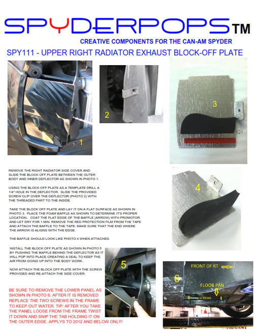 Can-Am Spyder RT Upper Right Radiator Exhaust Block-off Plate (SPY-111) Lamonster Approved Install Instructions.