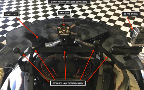 Lamonster Mount Master (LG-1087) Fits F3 and F3-S Models only and must have OEM windshield for proper fitment. OPTIONS SOLD SEPARATELY. #MountMaster