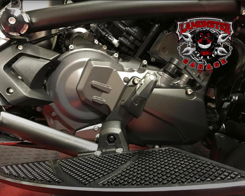 Can-Am Spyder F3 Stock Brake Pedal Position.  (Shown with Lamonster Black Dymond Floorboards)