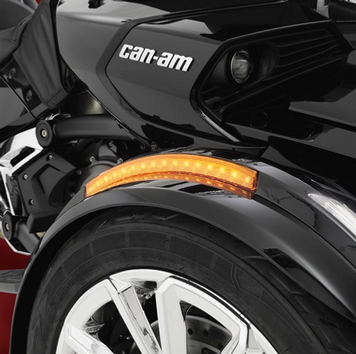 Show Chrome® Front Fender LED Reflectors Next Gen. (RT Complete Kit) (SC-RT-173B-174B-99) Lamonster Approved (Shown on F3 but ALL Spyder Fenders are the same on RT-S, RT-LTD, F3-S, F3-T, F3-LTD ETC)