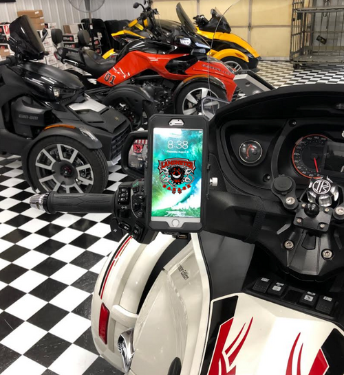 Can Am Spyder RT Cuff with Lamonster Approved Phone Holder with USB Plug (LG1014-4019) by Lamonster