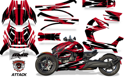Full Body Wrap Graphic Sticker Decal for Can-Am Ryker 2019 - Present / Attack Red (AMR-1000)