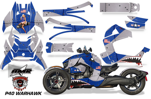 Full Body Wrap Graphic Sticker Decal for Can-Am Ryker 2019 - Present / Blue & Silver P40 Warhawk (AMR-1002)