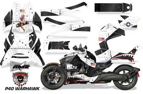 Full Body Wrap Graphic Sticker Decal for Can-Am Ryker 2019 - Present / Black & White P40 Warhawk (AMR-1003)