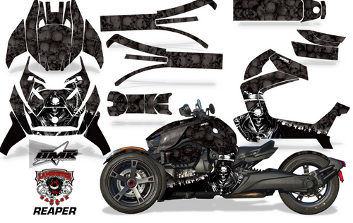 Full Body Wrap Graphic Sticker Decal for Can-Am Ryker 2019 - Present / Black Reaper (AMR-1004)