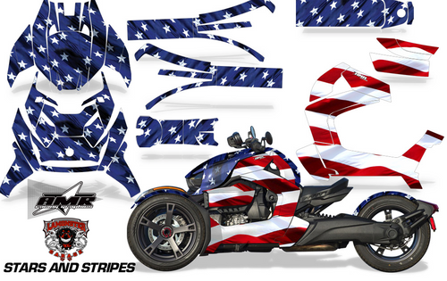 Full Body Wrap Graphic Sticker Decal for Can-Am Ryker 2019 - Present / Stars & Stripes (AMR-1007)