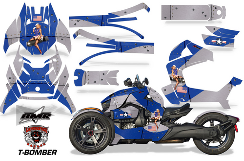 Full Body Wrap Graphic Sticker Decal for Can-Am Ryker 2019 - Present / Blue & Silver T-Bomber (AMR-1009)