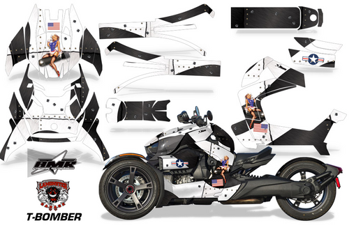 Full Body Wrap Graphic Sticker Decal for Can-Am Ryker 2019 - Present / Black & White T-Bomber (AMR-1010)