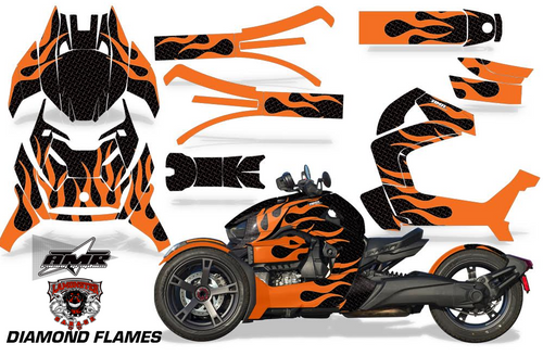 Full Body Wrap Graphic Sticker Decal for Can-Am Ryker 2019 - Present / Diamond Flames (RMA-1012)