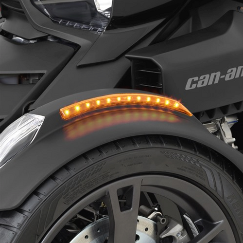 FRONT FENDER AMBER LED, Running/Turnsignal, Can-Am Spyder RT, F3, Ryker, 2019-Newer 24 SMD LED's. Amber LED Front Fender Side Lights On Ryker (Lights On)