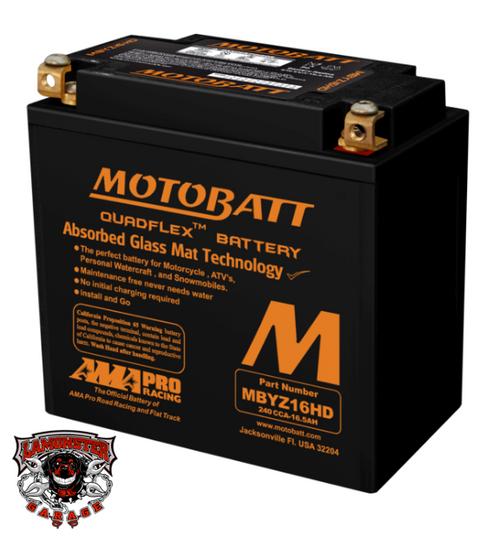 Can Am Ryker Replacement Battery MBYZ16HD (LGA-MBYZ16HD) Lamonster Approved Motobatt MBYZ16HD QUADFLEX AGM Factory Activated:  Replaces Yuasa YB12BB2, YTX12BS, YTX14, YTX14L, YTX14BS, YTX14H, YTX14HBS, YTX14LBS, KMX14BS,  GYZ16H, GYZ16HL Harley Davidson, Triumph, Honda TRX500