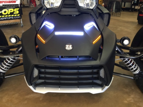 "CAN AM RYKER STANDARD HOOD 5-PIECE BRIGHT LED RUNNING LIGHTS WITH BOTTOM AMBER ""STAYON"" TURN SIGNALS (SPY-370) LAMONSTER / SPYDERPOPS"