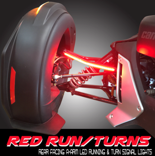 RYKER-OPTICS RED/RUN/TURN STAY-ON UPPER A-ARM REAR VIEW LED SIGNAL COMPLETE KIT (STAND ALONE) COMES WITH FENDER HARNESS FOR POWER & SIGNALS, PLUG/PLAY (SPY-387)