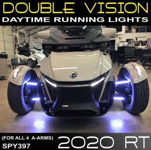 2020 CAN AM SPYDER RT DOUBLE VISION DAYTIME RUNNING LED LIGHTS (2-PAIR) FOR THE FRONT A-ARMS (SPY-397)