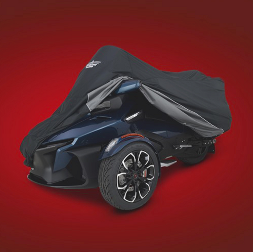 2020 CAN-AM SPYDER RT, FULL COVER (SC-4-473BC) Black Over Charcoal Cover On 2020 Spyder RT (Pulled Back)