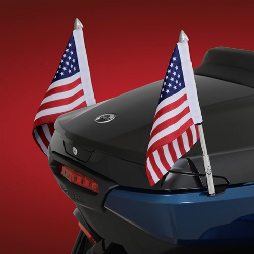 Folding Flag Pole On Spyder RT (Shown With 41-203L Left Mount Flag Pole)