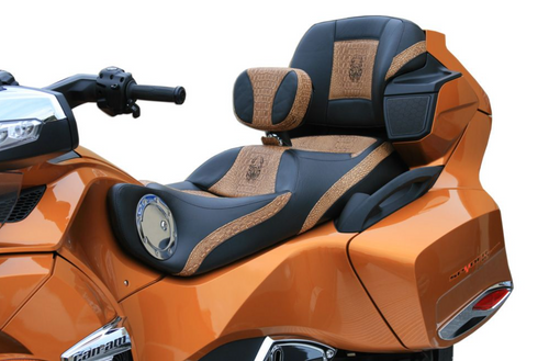 Ultimate Seat, Can Am Spyder RT (2010 - 2019) Shown with: Ultimate Cognac Croc Inlays and Rider Backrest