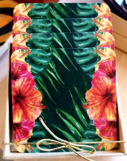 CA Printed Coaster 4 Flowers CAPC305