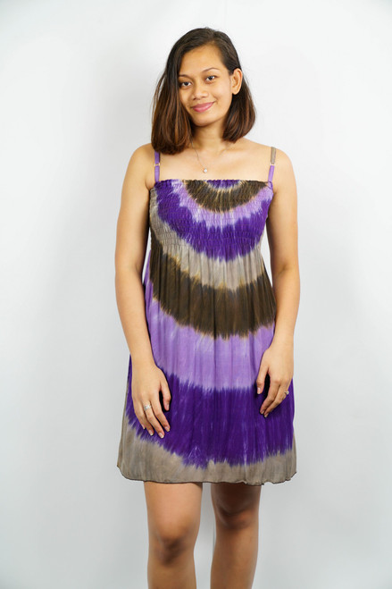 Samoan Dress TYE-DYE PURPLE ONE SIZE