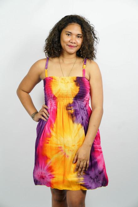 Samoan Dress TYE-DYE YELLOW PINK ONE SIZE