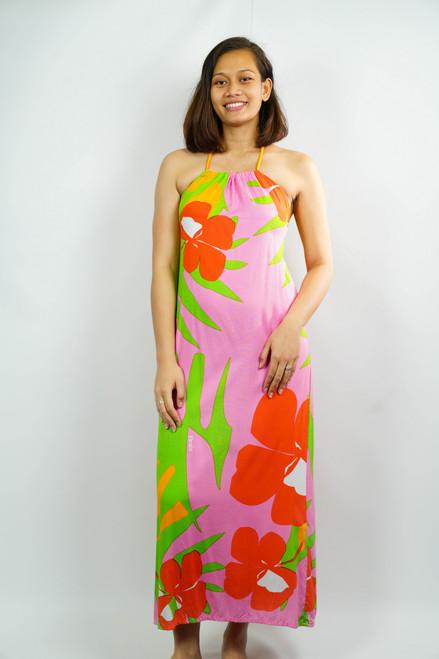 TIARE TEITI Polynesian Dress PINK RED LARGE