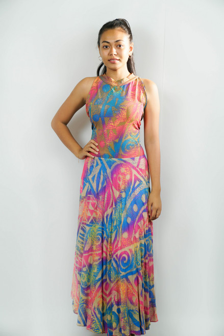 Samoan Dress KALOLO LONG HIGH NECK COLORFUL - SZ 14