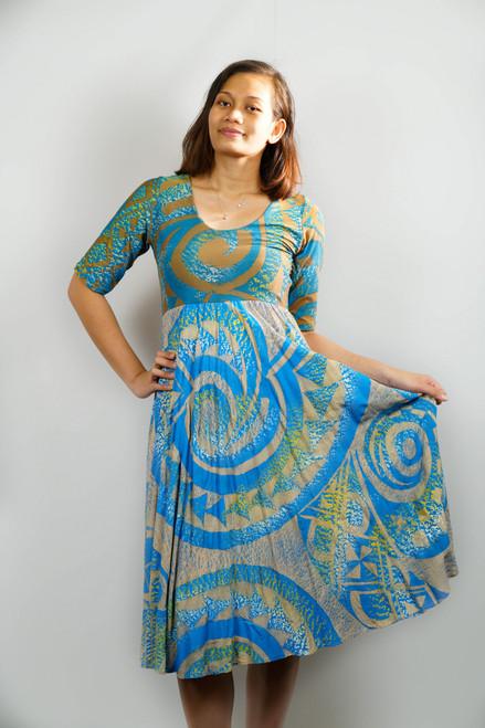 KALOLO DRESS BLUE BROWN - SZ 12
