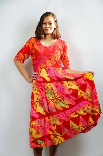 KALOLO DRESS YELLOW RED - SZ 16