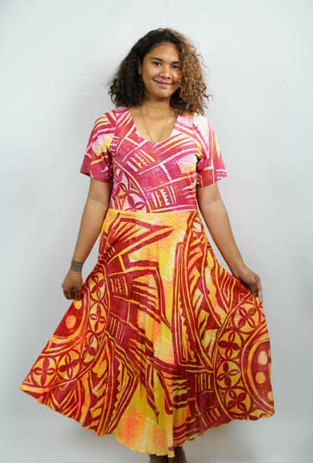 Samoan Dress RED PINK - SZ 14